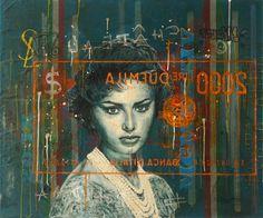 Jose Luis Ferragut - Sophia - 2015, oil paint, resin and ink on italian mailbag canvas. 100 X 83 CM.