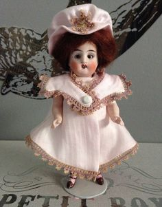 Little All Bisque Antique Vintage Doll in Pink on Etsy, $99.00