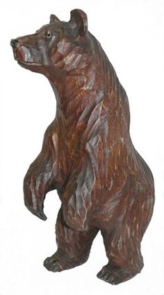 Grizzly Bear Standing Wood Sculpture