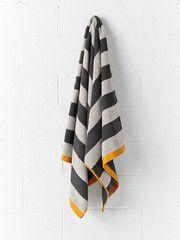 Bath Towel Stripes Charcoal