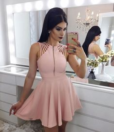short sexy pink prom dress, special evening dress,party
