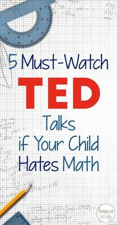 5 Must-Watch TED Talks if Your Child Hates Math Math can be one of the most frustrating subjects to teach! Math is used everywhere in our lives. Here are 5 must-watch TED talks for kids that hate math. Math For Kids, Fun Math, Math Activities, Math Math, Maths Resources, Math Tutor, Guided Math, Math Teacher, Math Classroom
