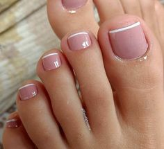 Toe nail designs, french pedicure designs, french tip pedicure, feet nail d Frensh Nails, Pink Toe Nails, Pretty Toe Nails, Toe Nail Color, Cute Toe Nails, Pink Toes, Feet Nails, Toe Nail Art, Gorgeous Nails