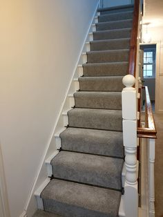 Cut string straight staircase with Georgian newels and spindles. The handrails have been stained to create a contrast against the rest of the staircase. Glass Stairs, Metal Stairs, Painted Stairs, Wooden Stairs, Bespoke Staircases, Wooden Staircases, Curved Staircase, Staircase Design