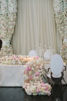 We are thrilled to see this romantic and overflowing floral tablescape from LUXE Linen's LUXE Launch 2016 featured on Inside Weddings. Reception Decorations, Flower Decorations, Wedding Centerpieces, Reception Ideas, Floral Wedding, Wedding Flowers, Flower Curtain, Floral Curtains, Platinum Wedding