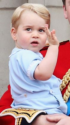 Prince George with Prince William on the balcony at Buckingham palace after Trooping the Colour - 13th June 2015