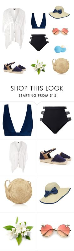 """""""Untitled #6"""" by tatuli-togoxia ❤ liked on Polyvore featuring Zimmermann, Fleur du Mal, Topshop, Castañer, WithChic and Eos"""