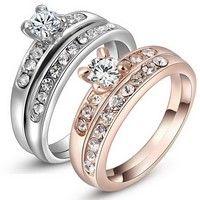 Wish | Wedding Ring Set White Gold Rose Gold 18k Plated Size 6 7 8 Crystal