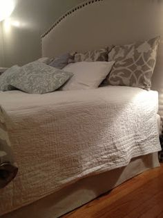 Two It Yourself: No Sew Drop Cloth Bed Skirt (perhaps the easiest DIY project out there)