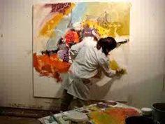 ▶ Abstract painting by Zaman Jassim لوحة تجريدية للفنان زمان جاسم - YouTube