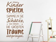 Wandtattoo Wenn Kinder spielen sammeln sie www.d The post Wandtattoo Wenn Kinder spielen sammeln sie appeared first on Wandgestaltung ideen. Typography Inspiration, Kids Playing, Baby Room, Hand Lettering, Wall Decals, Have Fun, Thoughts, Sayings, Blog