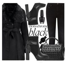 """""""Monochrome: All Black Everything"""" by fattie-zara ❤ liked on Polyvore featuring Pieces and CLUSE"""