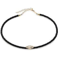 Jacquie Aiche Moonstone, Diamond, 14K Yellow Gold & Leather Braided... (€975) ❤ liked on Polyvore featuring jewelry, necklaces, apparel & accessories, black gold necklace, braided leather necklace, gold necklaces, choker necklace and leather necklace