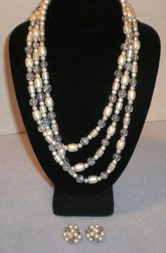 Vintage 3 Strand Beaded Necklace Faux Pearls Clear Beads Clip On Earrings Made in Japan by Izzyoma on Etsy