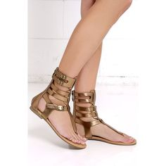 Roman Holiday Light Bronze Gladiator Sandals ($26) ❤ liked on Polyvore featuring shoes, sandals, brown, roman sandals, greek sandals, brown gladiator sandals, brown thong sandals and bronze sandals