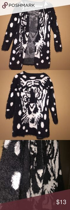 Tiger fashion cardigan sweater 🐅 In perfect condition. Light fur on the outside and inside not furry. Has no tag or size. I fit in S or M and it fits perfect. Sweaters Cardigans