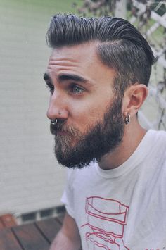 gross, dude, just gross. my least favorite thing, besides curly mustaches, is when guys with piercings hide them in beards. guys with piercings are hot but like ALL of them have beards now. Septum Piercing Men, Mens Piercings, Tattoo Und Piercing, Septum Ring, Moustaches, Beard Growth Oil, Beard Tattoo, Beard No Mustache, Hair And Beard Styles