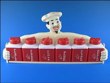 Dapol Plastic Chef Spice Rack with 6 Red Plastic Shakers by Shop Retro Daze (Ruby Lane)