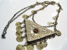 Antique Silver Amulet Necklace from the Ottoman Era, Triangular Hirz or Maska by Anteeka on Etsy