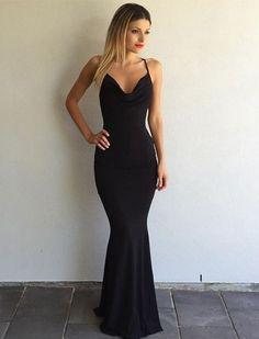 2017 Black Prom Dress, Sexy Spaghetti-Strap Prom Dress, Cross-Back Prom Dress, Mermaid Prom Dress ,Prom Dress,Prom Dresses,Sexy Prom Dress