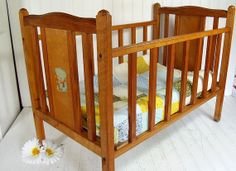 Vintage Large Wooden Crib - Retro Natural Wood Doll Collector's Bed - Oversized…