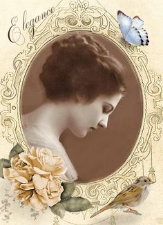 Vintage frame.with birds digital collage p1022  Free to use <3