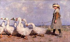 An image of an open-air painting of a girl leading geese across a sea shore