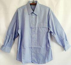 New Cintas Men's Blue Dress Shirt Work Executive Long Sleeve 17 32 33 NIP   eBay