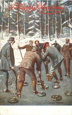 A CHRISTMAS CURLING MATCH Olympic Curling, Women's Hockey, Its Cold Outside, Roller Derby, Tartan Plaid, American History, Olympics, Curls, Postcards