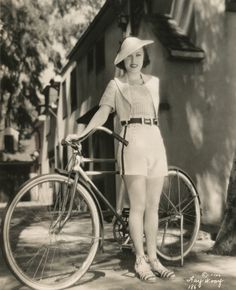 Actress Fay Wray takes a summer bike riding break. #vintage #actress #bicycle