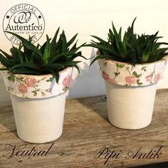 Fornyet blomsterkrukker med Neutral Autentico kalkmaling