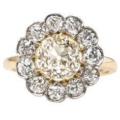 Victorian 1.97 Carat Diamond Gold Platinum Cluster Engagement Ring | From a unique collection of vintage engagement rings at https://www.1stdibs.com/jewelry/rings/engagement-rings/