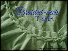 D-I-Y Braided Neck T-shirt To add a braided neckline, start with an old t-shirt - it's better to practice the technique on an old shirt first! Zerschnittene Shirts, Cut Up Shirts, T Shirt Hacks, T Shirt Diy, Tee Shirt Crafts, Braided T Shirts, Altered T Shirts, Shirt Transformation, Diy Vetement