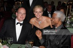 Prince Albert II of Monaco, Charlene Wittstock and Nelson Mandela attend the 'Unite For A Better World Gala Dinner' on September 2, 2007 at the Hotel de Paris in Monte Carlo, Monaco. The gala dinner is attended by over 350 guests, which will raise funds for the Amade Mondiale, the Nelson Mandela Foundation, the Nelson Mandela Children's Fund, and The Mandela Rhodes Foundation.