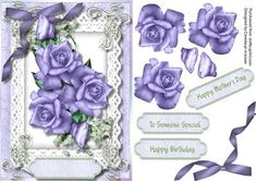 Lovely Lilac roses on Babys Breath  on Craftsuprint - Add To Basket!