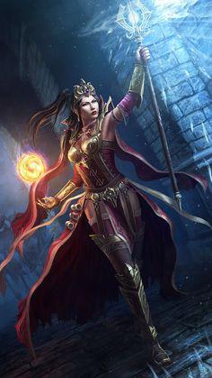 f Cleric med Armor Staff Cape Casting urban night Diablo 3   Art