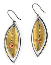 Silver Lake Earrings with Red Sapphires by Sydney Lynch (Gold, Silver & Stone Earrings)