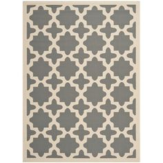 """Rug Idea for Dining Room_Safavieh Indoor/Outdoor Courtyard Contemporary Anthracite/Beige Rug (6'7"""" x 9'6"""") 