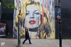 Mr Brainwash does kate moss, pasted onto the exterior of the Old Sorting Office