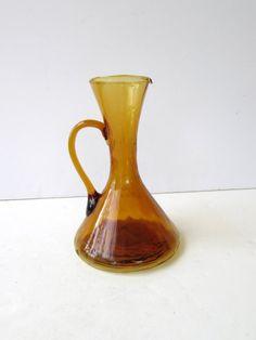 Vintage Amber Glass Wine Decanter Wine Carafe Blown Glass