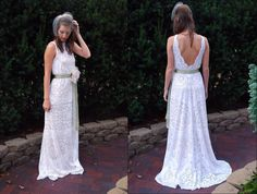 Wedding Dress -  Gown - LACE - White - Backless - BOHEMIAN - Vintage - Outdoor - Beach - Destination - BOHO -