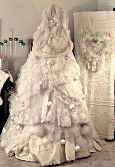 Re purposed white gowns and slips for White Shabby Chic Christmas Tree