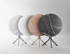 by Jean Louis Iratzoki - Table bistrot contemporaine / en marbre / en acier / ronde by RETEGUI
