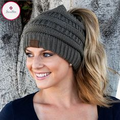 It seems as though, all of a sudden, these adorable beanies are everywhere you look and we are loving the look of these messy-hair don't care knit hats! They are absolutely perfect for the pony-tail lovers of the world! The Soft Knit Ponytail Beanie has a Crochet Beanie, Knitted Hats, Crochet Hats, Messy Bun Knitted Hat, Ponytail Beanie, Beanie Hats, Bun Beanies, Chapeaux Bonnet Slouchy, Wearing A Hat