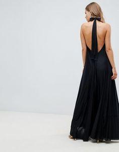 Vestido largo plisado con cuello halter y espalda descubierta Vanessa de  ASOS DESIGN at asos.com 612547ed062