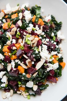 The best way to eat beets! Roasted with sweet honey and spicy ginger until tender, these beets and sweet potatoes make this more than just salad. Pickled Beet Salad, Roasted Beet Salad, Beet Salad Recipes, Kale Recipes, Healthy Recipes, Smoothie Recipes, Salad With Sweet Potato, Sweet Potato Recipes, Salads