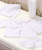 Crochet Baby Christening Set  Free Pattern   Sizes 3 months, 6 months, 12 months,   The perfect answer for the modern baby, the 3-piece Christening Set is ideal for either a girl (an   optional ruffle) or boy. Make one or more pieces for the perfect heirloom gift.