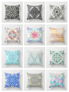 A collection of throw pillows by Micklyn on Society6 #pattern #decor #boho #home