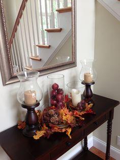 Pretty console table with fall decor