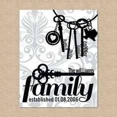 Key to a happy home, Art Print Personalized with family names // Archival Prints for the home // Custom Match colors to your room // 8x10